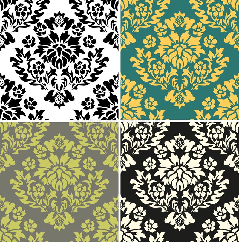 Retro vintage cover. Abstract flower. Beautiful abstract backdrop. Wallpaper baroque, damask. Damask pattern collection for fabric stock illustration