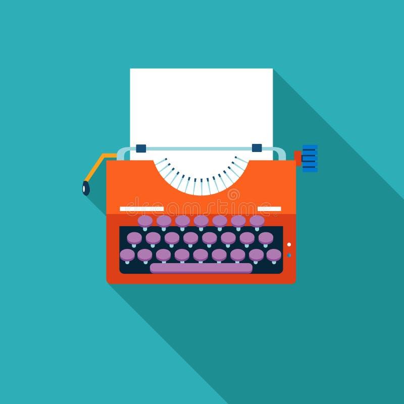 Retro Vintage Creativity Symbol Typewriter and. Paper Sheet Icon on Stylish Color Background Design Template Vector Illustration stock illustration