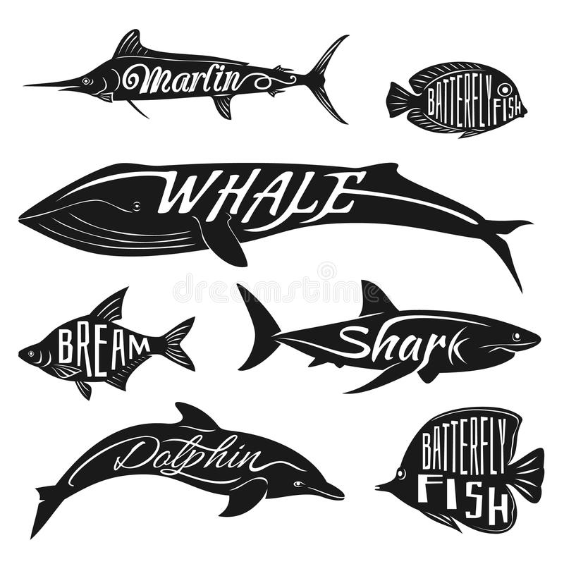 Retro, vintage fish with names. Vector tattoo set royalty free illustration