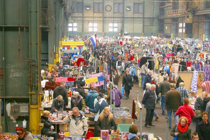 Retro vintage flea market, IJ-Hallen, Amsterdam stock images