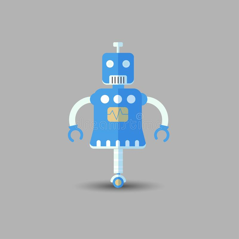 Retro vintage funny vector robot icon in flat style isolated on grey background. Vector vintage illustration of flat royalty free illustration