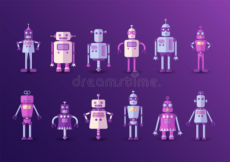 Retro vintage funny vector robot set icon in flat style isolated on violet background. Vintage illustration of flat stock illustration