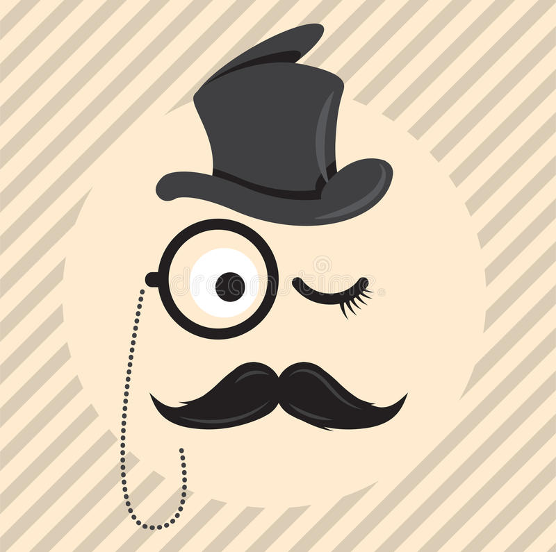Retro, vintage gentleman in a hat cylinder with mustache and monocle icon on light coloured background vector illustration