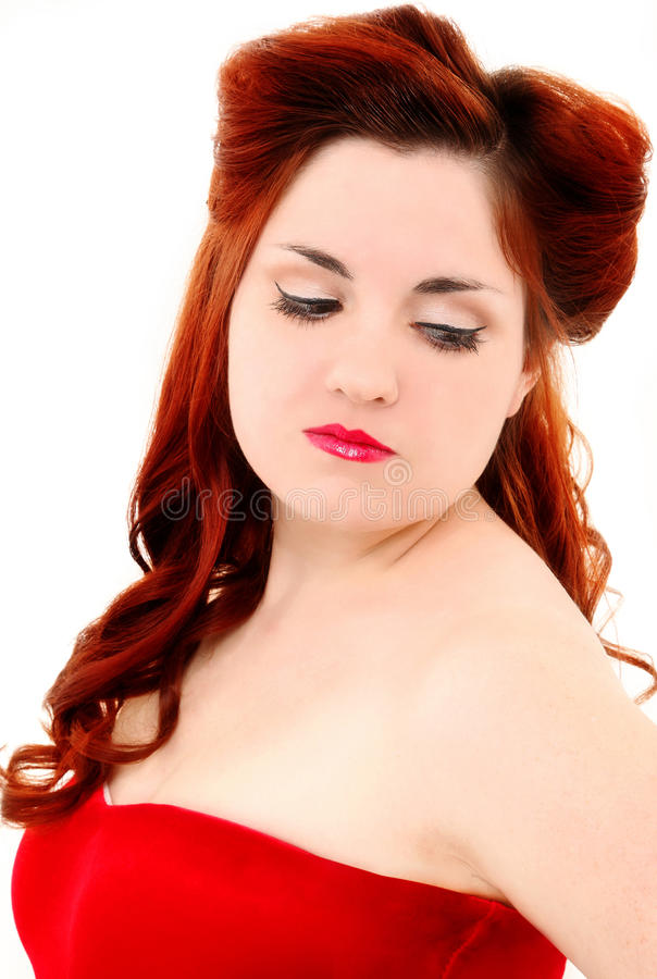 Retro Vintage Hair Style Half Updo and Make Up royalty free stock photography