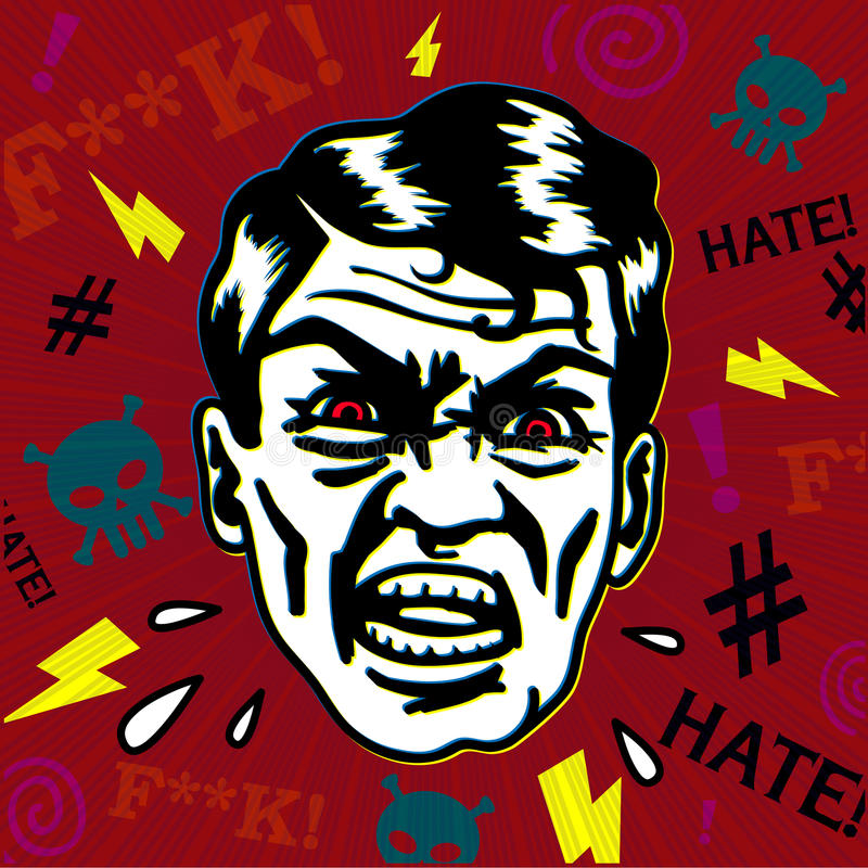 Retro vintage hater man with angry face swearing, yelling and insulting with rage. Retro styled grumpy and furious man with red eyes and mad expression insulting royalty free illustration
