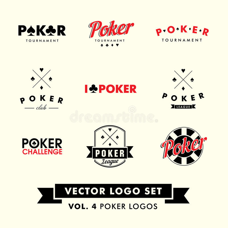 Retro Vintage Hipster Poker Vector Logo Set royalty free stock image