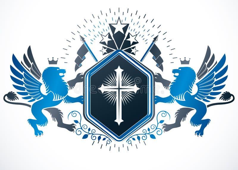 Retro vintage Insignia Elemento de desenho vetorial feito com cruz religiosa ilustração royalty free