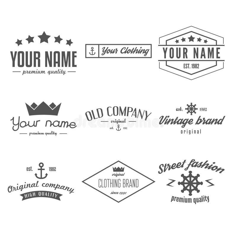 Retro Vintage Insignias, logo or Logotype set stock illustration