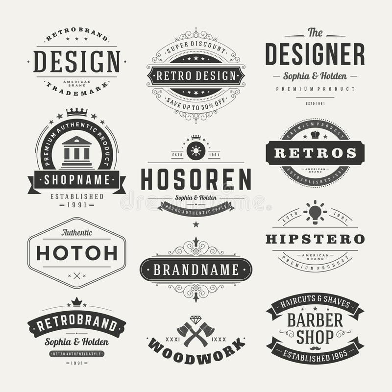 Retro Vintage Insignias or Logotypes set vector royalty free illustration