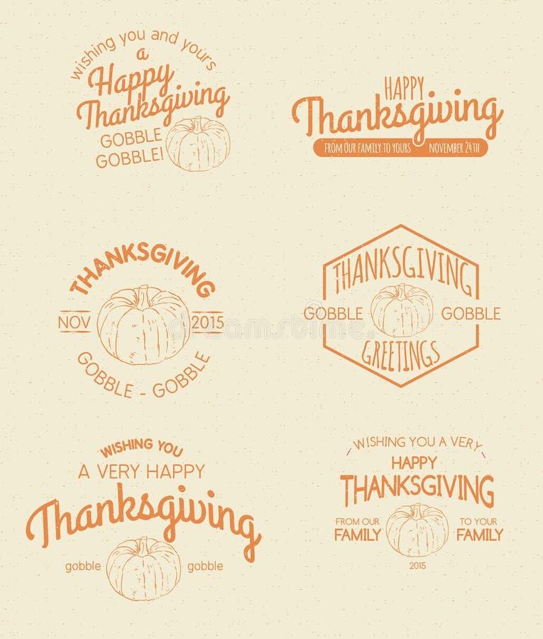 Retro Vintage Insignias for Thanksgiving. Set of Retro and Vintage Insignias for Thanksgiving royalty free illustration