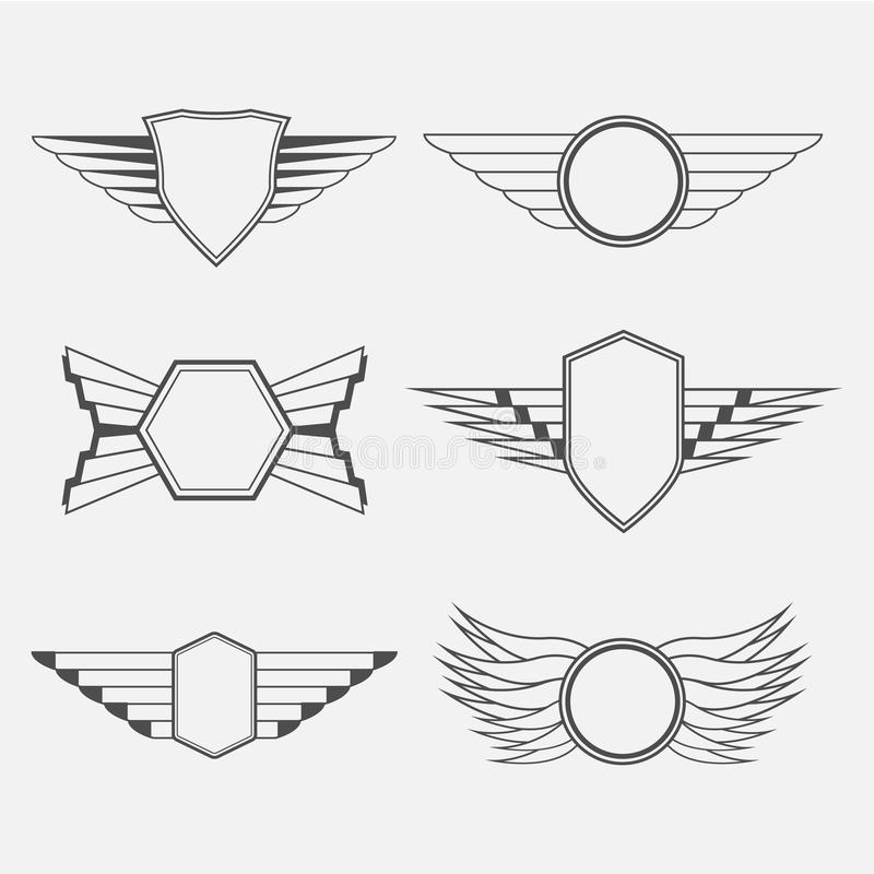 Download Retro Vintage Logotypes With Wings Stock Vector - Illustration of fingers, freedom: 76624643
