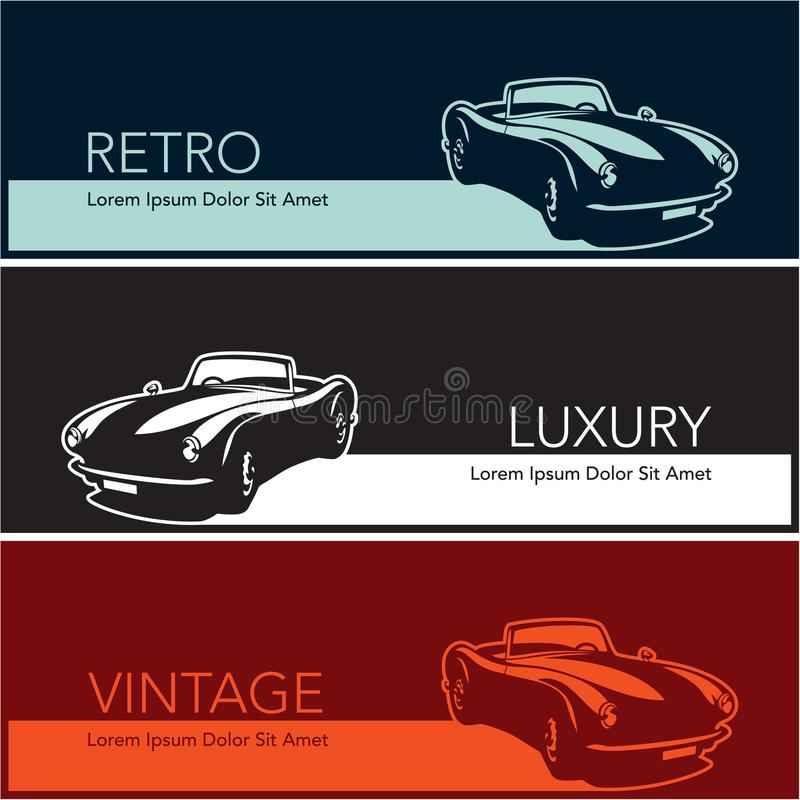 Retro vintage luxury cars banners vector illustration