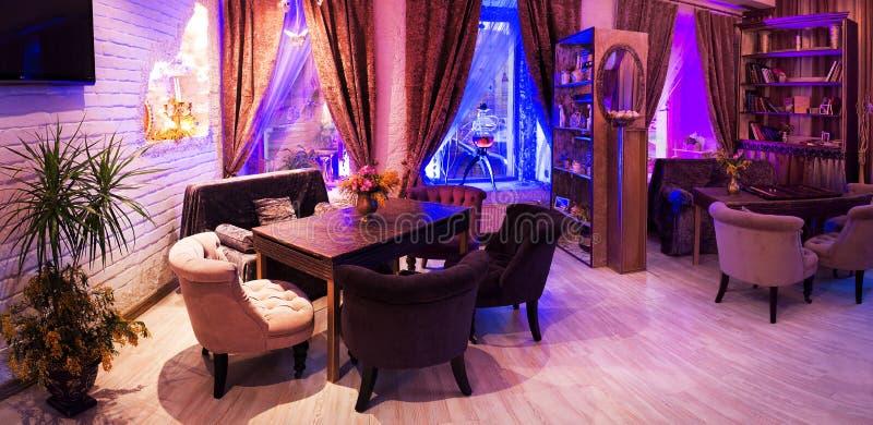 Retro vintage luxury interior. Restaurant, night club stock photos