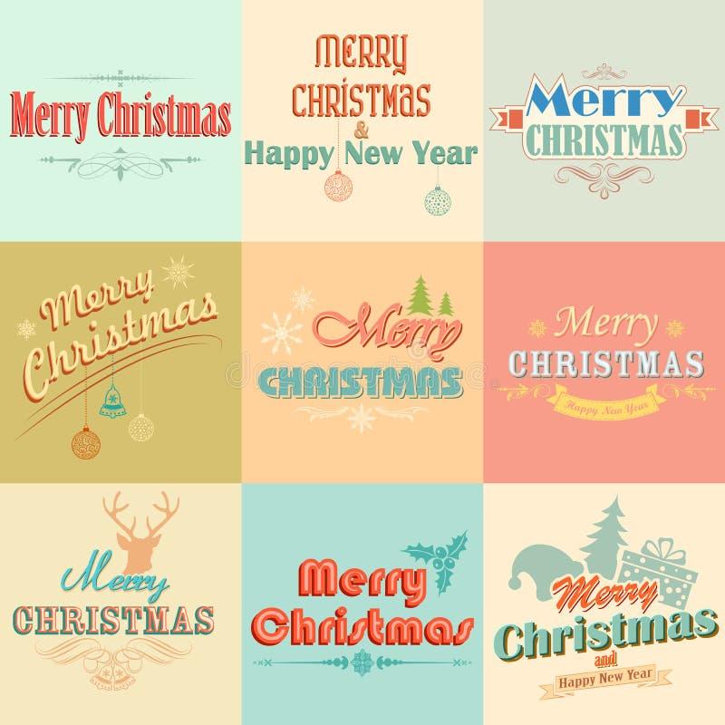 Retro Vintage Merry Christmas labels royalty free illustration