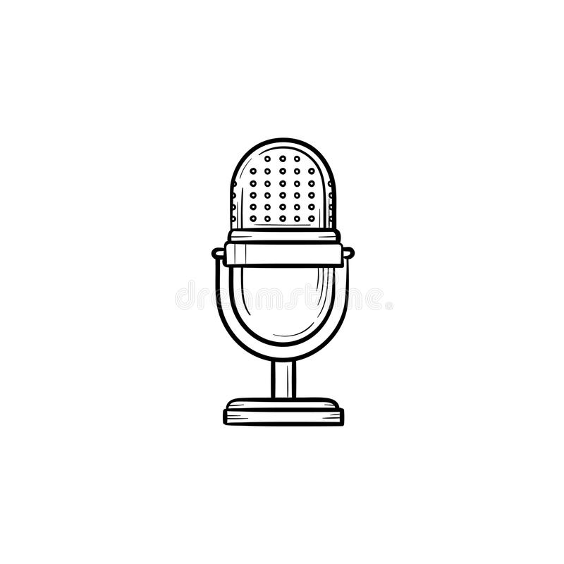 Retro vintage microphone hand drawn outline doodle icon. stock illustration
