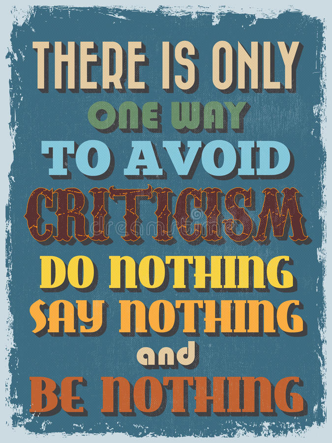 Retro Vintage Motivational Quote Poster. Vector illustration royalty free illustration