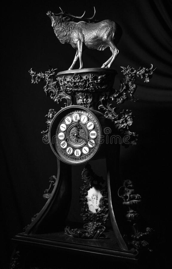Retro vintage old clock details close up in black and white royalty free stock images