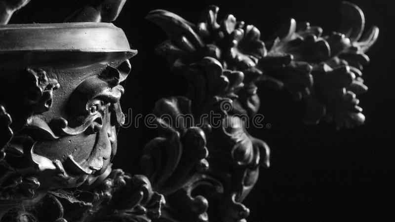 Retro vintage old clock details close up in black and white stock photography