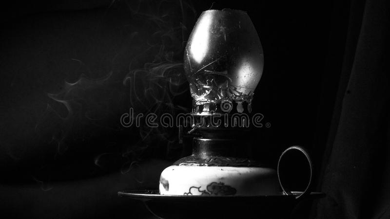 Retro vintage old oil lamp details close up in black and white royalty free stock photos