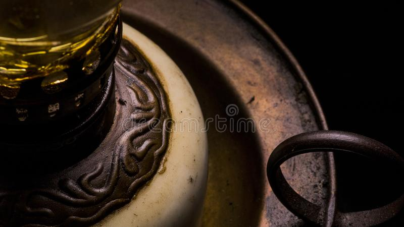 Retro vintage old oil lamp details close up stock photos