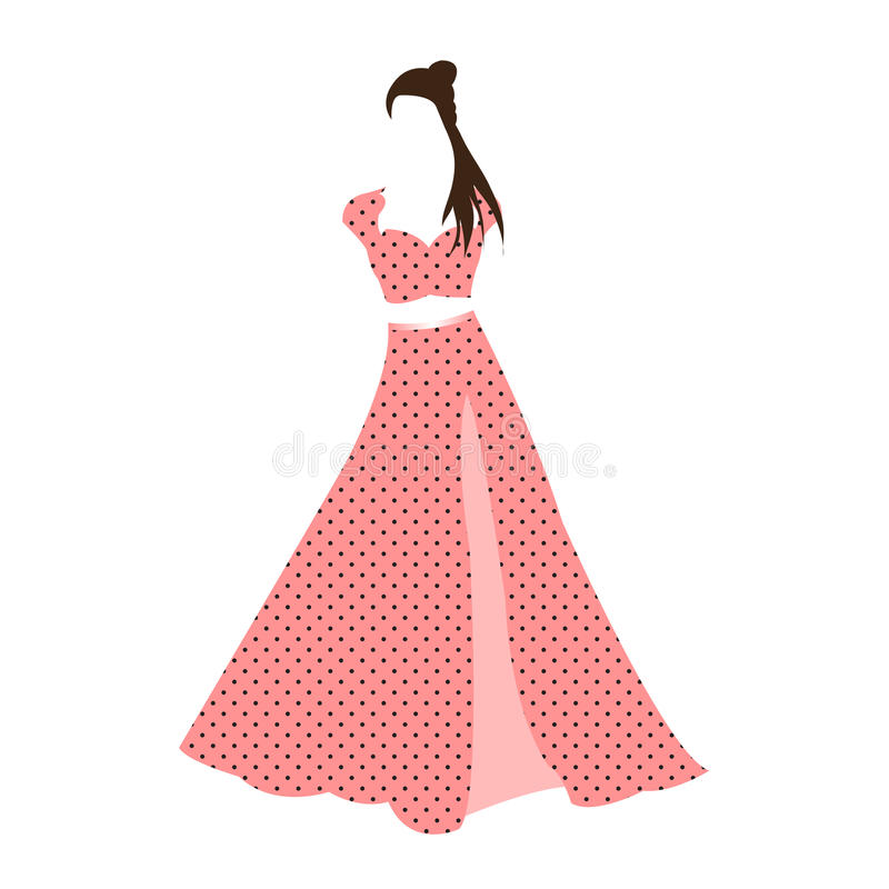 Retro vintage pink polka dot dress isolated on white background. Flowing untied hair. stock illustration