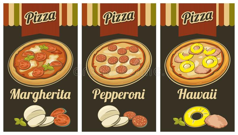 Retro Vintage poster whole Pepperoni, Hawaiian, Margherita pizza and the ingredients. Black background. For advertising royalty free illustration