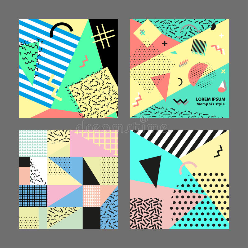Retro vintage 80s or 90s fashion style. Memphis cards. Big set. Trendy geometric elements. Modern abstract design poster royalty free illustration