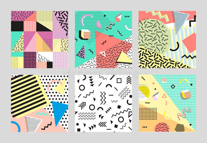 Retro vintage 80s or 90s fashion style. Memphis cards. Big set. Trendy geometric elements. Modern abstract design poster stock image