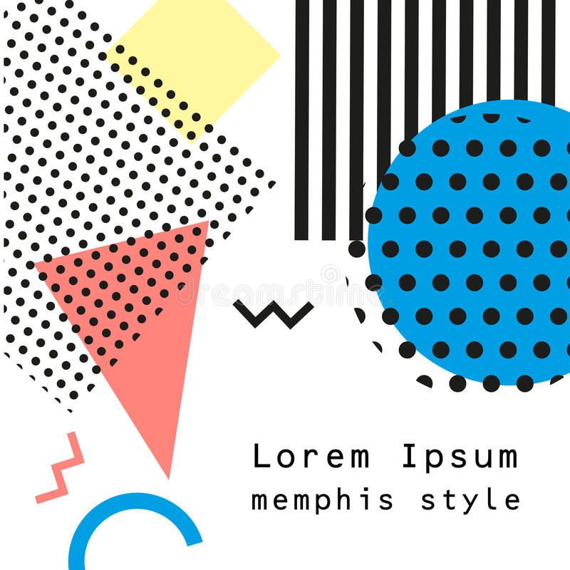 Retro vintage 80s or 90s fashion style. Memphis cards. Trendy geometric elements. Modern abstract design poster, cover royalty free illustration