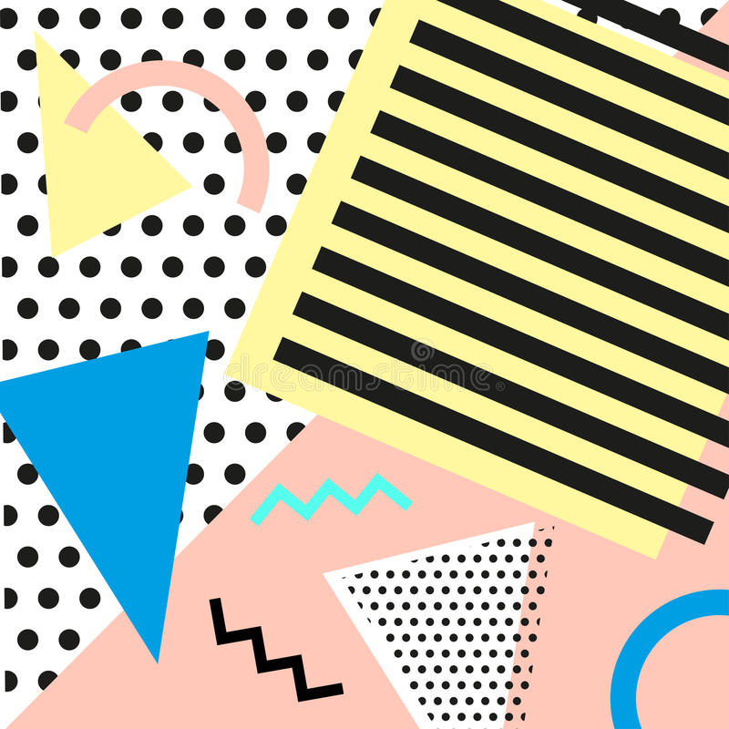 Retro vintage 80s or 90s fashion style. Memphis cards. Trendy geometric elements. Modern abstract design poster, cover stock illustration