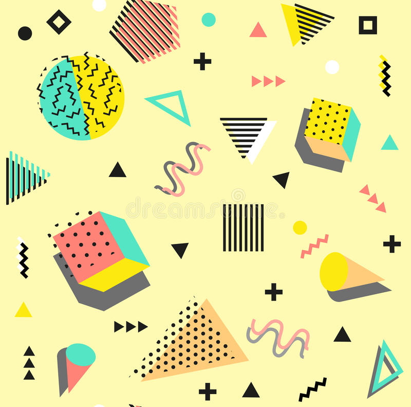 Retro vintage 80s or 90s fashion style. Memphis seamless pattern. Trendy geometric elements. Modern abstract design stock illustration