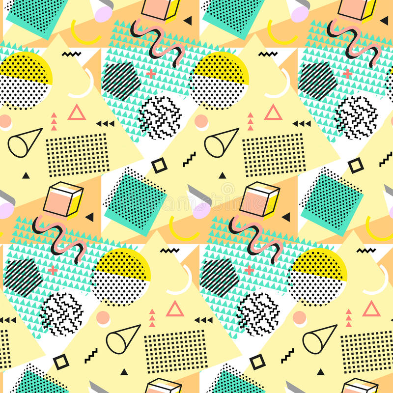 Retro vintage 80s or 90s fashion style. Memphis seamless pattern. Trendy geometric elements. Modern abstract design vector illustration
