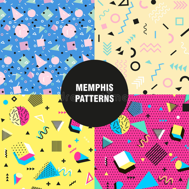 Retro vintage 80s or 90s fashion style. Memphis seamless patterns set. Trendy geometric elements. Modern abstract design royalty free illustration