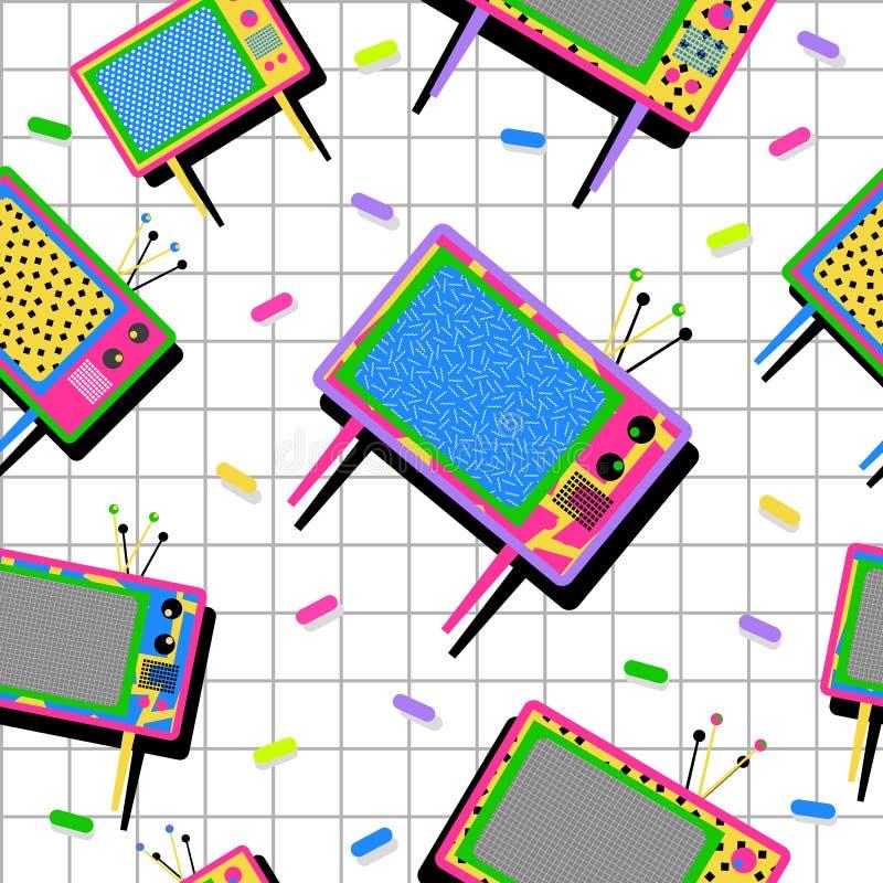 Retro vintage 80s tv seamless pattern background royalty free illustration