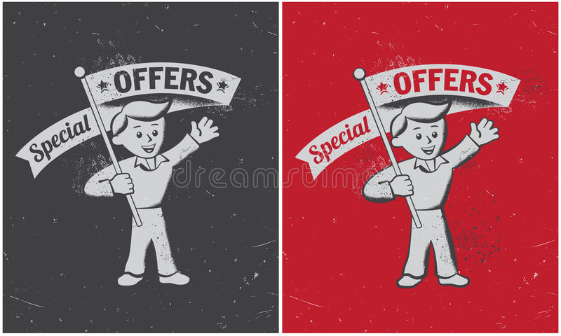 Retro vintage special offer banner vector illustration