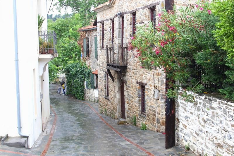 Retro vintage street Nikiti village, Chalkidiki royalty free stock photo