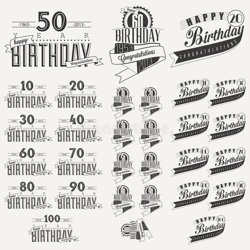 Download Retro Vintage Style Birthday Greeting Card Collection In Calligraphic Design. Stock Vector - Image: 39526372