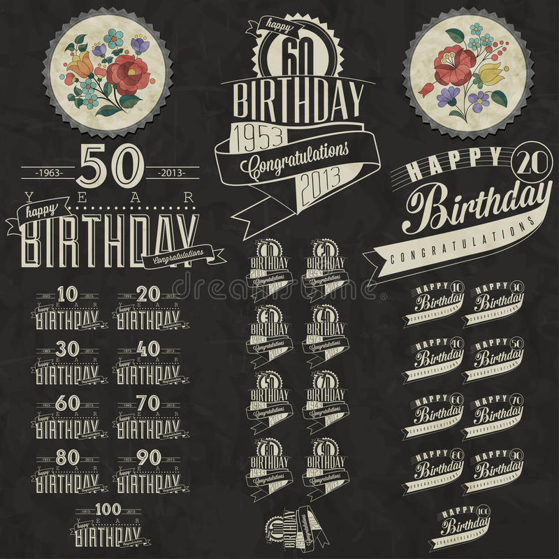 Retro vintage style birthday greeting card collection in download retro vintage style birthday greeting card collection in calligraphic design stock photo image m4hsunfo
