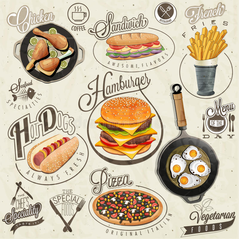 Free Retro Vintage Style Fast Food Designs. Royalty Free Stock Photo - 47595365