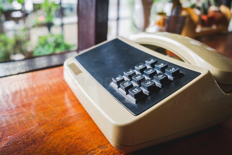 Retro vintage style old telephone,Phone push button dial vintage royalty free stock photos