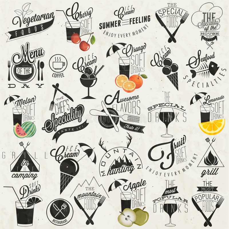 Retro vintage style restaurant menu designs. stock illustration