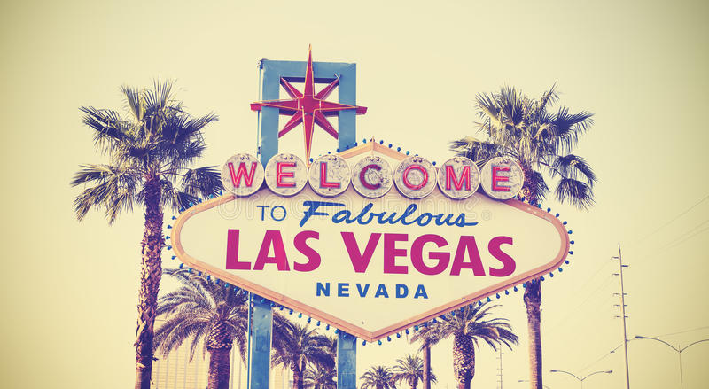 Retro vintage toned Welcome To Las Vegas Sign. stock photography