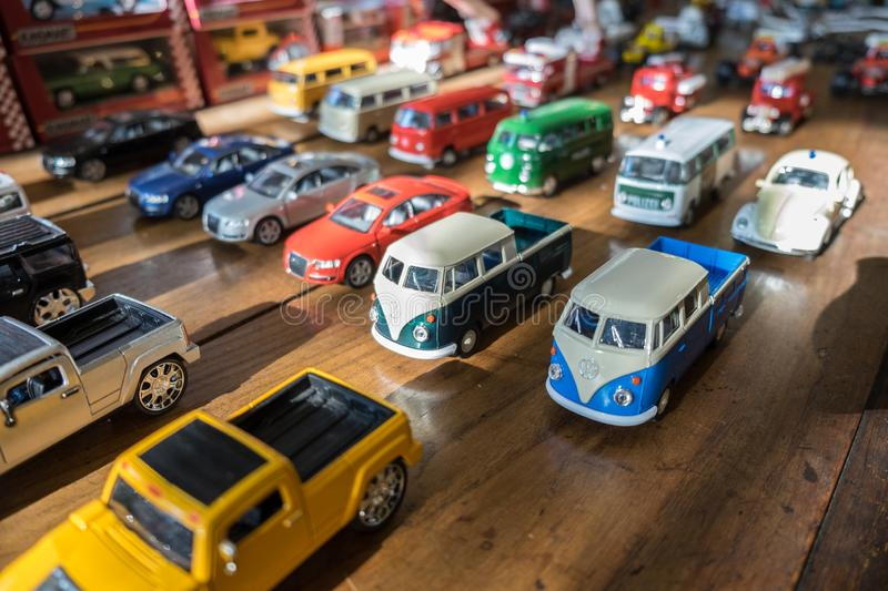 Retro (vintage) toy cars collection on a wooden table royalty free stock images