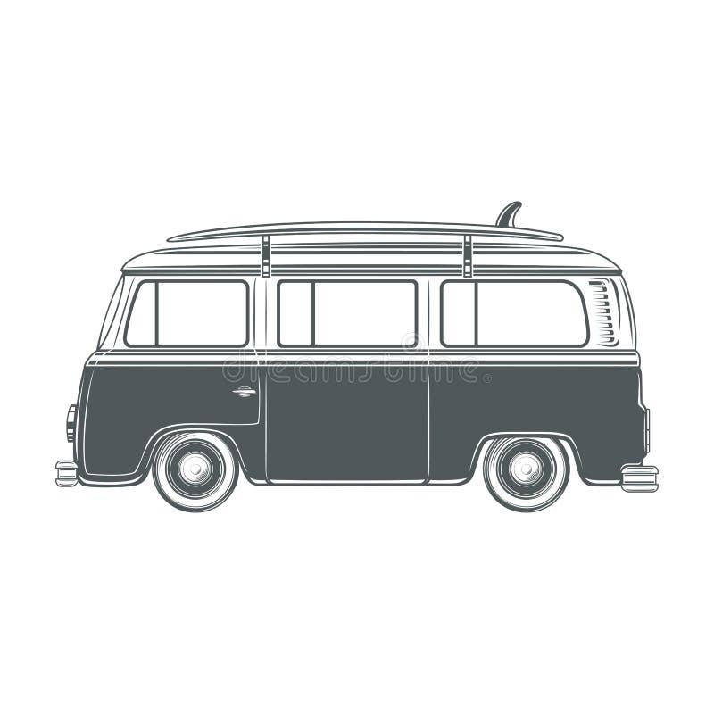 Retro, vintage, travel, camper van, with surf. Retro vintage travel camper van with surf board isolated on white background. Vector illustration royalty free illustration