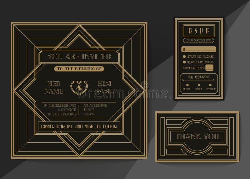 Retro and vintage wedding invitation vector template set stock photos