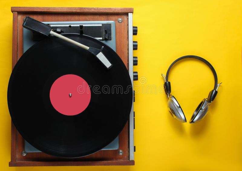 Retro vinyl record player stock images
