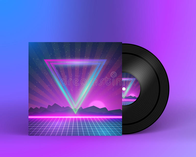 Retro Vinyl Record 1980s Style Cover with Neon Lights and Abstra. Illustration of Retro Vinyl Record 1980s Style Cover with Neon Lights and Abstract Triangles stock illustration