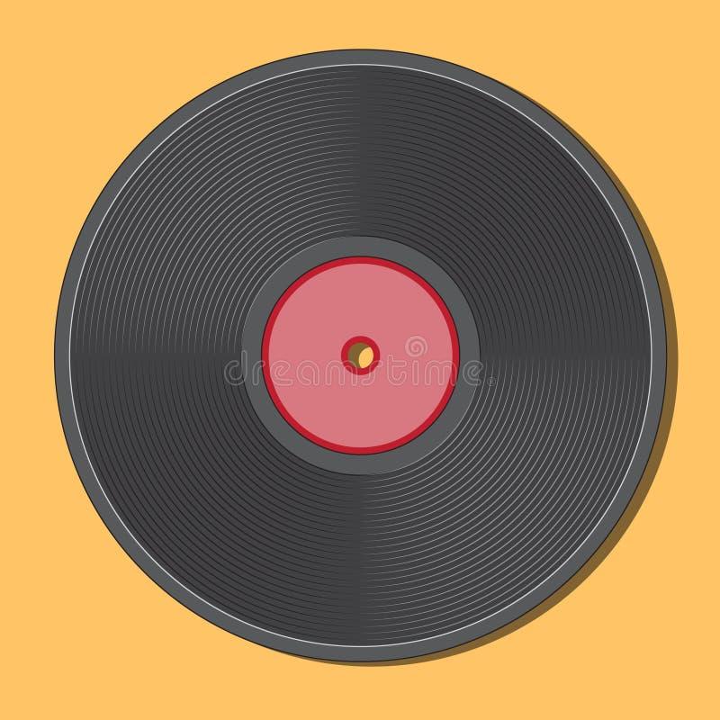 Retro vinylschijf zwarte rode centrum en radiaal dwarsdoorsneden Vector illustratie stock illustratie