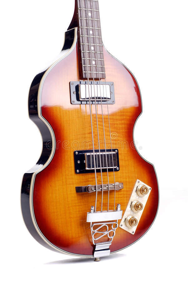 Retro Violin Bass Guitar. Old Sixties Style Bass Guitar Isolated On A White Background royalty free stock images