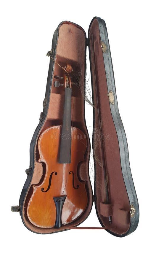 Retro viool met een boog in een oud sjofel geval royalty-vrije stock fotografie